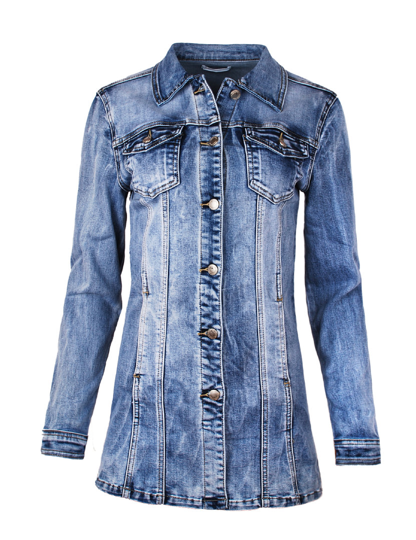 new product 4230f 8bee6 Fraternel Damen Jacke Mantel lange Jeansjacke talliert Denim Jacket