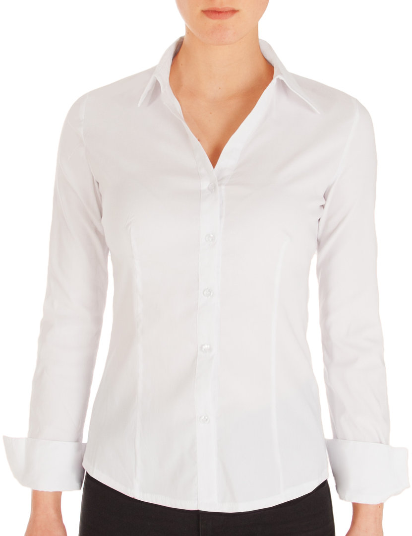 Fraternel Damen Bluse Hemd Slim Fit Stretch