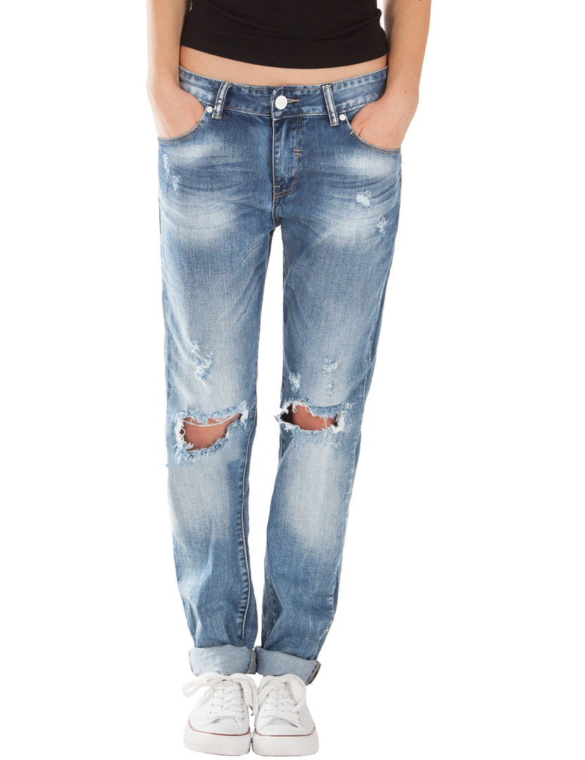 Fraternel Damen Jeans Boyfriend destroyed straight blau