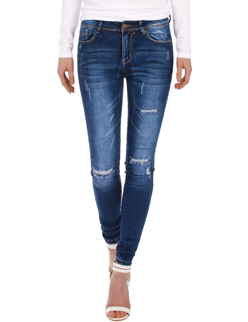 Fraternel Damen Jeans Hose Skinny Röhrenjeans destroyed stretch