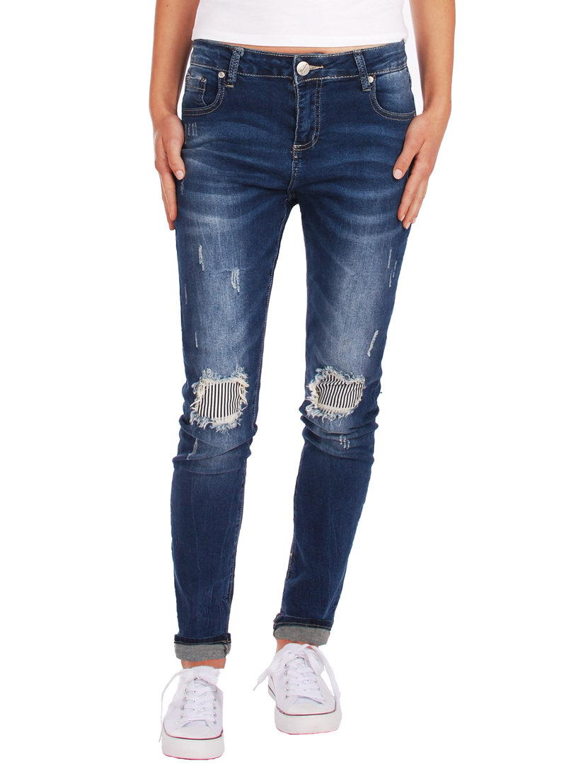 Fraternel Damen Jeans Hose destroyed  relaxed fit stretch