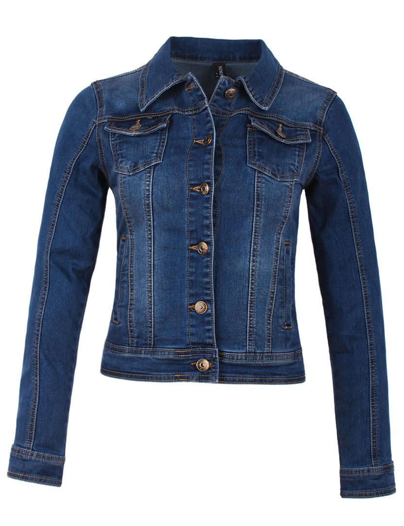 Fraternel Damen Jacke Jeansjacke Denim Jacket talliert stretch